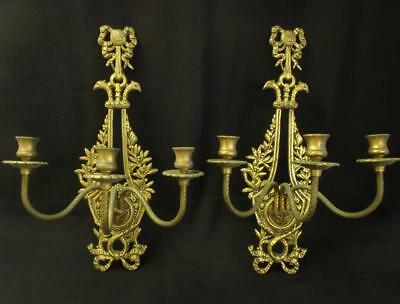 Pair Antique ornate brass bronze rococo wall sconces fixtures