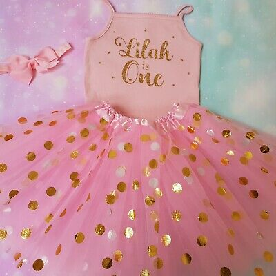 Baby Girls 1st  Birthday Personalised outfit Pink Cake smash dress top ONE Gold