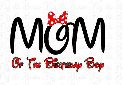 Mom Of The Birthday Boy Or Girl Disney Minnie Mouse T Shirt