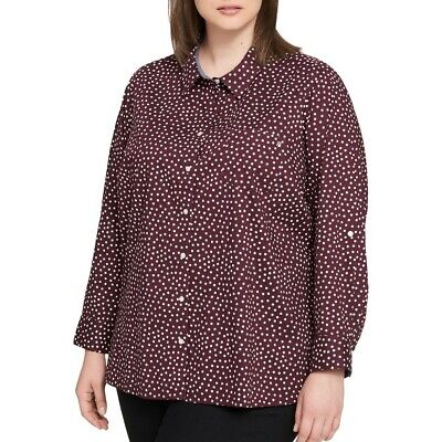 TOMMY HILFIGER Women's Roll-tab Sleeves Utility Button Down Shirt Top 3X TEDO