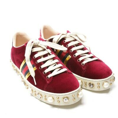 e055889faf Gucci Baskets Taille D 35,5 Rouge Chaussures Femmes Neuf Velours