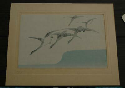 Antique Illegibly Signed Japanese Woodblock Titled Flying Geese on Rice Paper