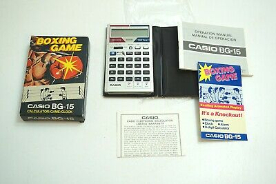 Rare New Old Stock Casio Bg-15 Boxing Game Calculator Clock Circa 1982 Mini Lcd