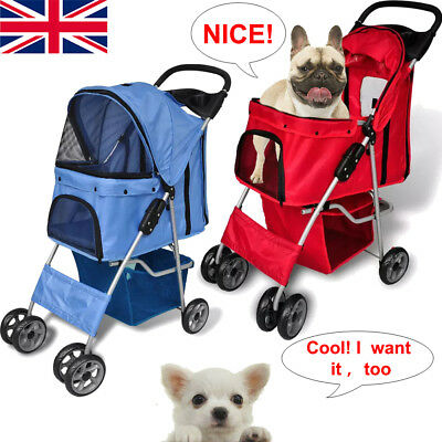 Pet Travel Stroller Dog Puppy Cat Pushchair Pram Folding Jogger Buggy Wheels UK