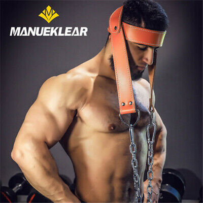 Leather Weight Lifting Head Harness Dipping Belt For Neck Exercise Gym Training