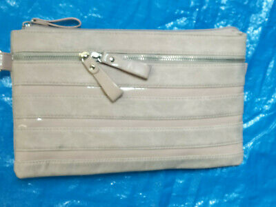 Betts Dusty PinkSuede Look Hand Carry Clutch Handbag (Never Used) All Zips Work