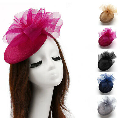 Women Bow Veil Fascinator Hair Clips Feather Wedding Church Party Hat Linen