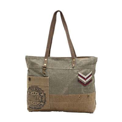 f82b8fe1751c MILITARY BADGE UPCYCLED Canvas and Genuine Leather Trim Tote Bag ...