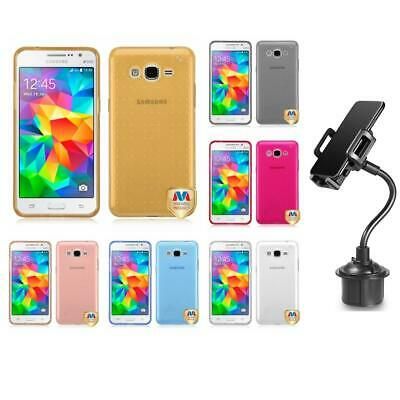 For Samsung Galaxy Grand Prime LTE G530 TPU Spots Rubber Case Cover + Cup Mount