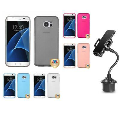 Samsung Galaxy S7 Edge TPU Spots Rubber Skin Case Phone Cover + Cup Mount