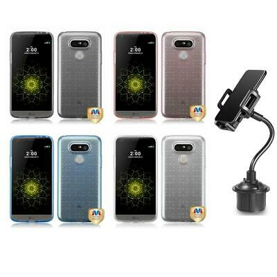 For LG G5 TPU Spots Rubber Skin Case Phone Cover + Cup Mount