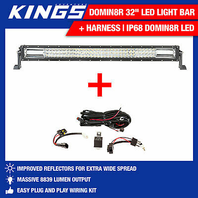 "Kings 32"" Deluxe Lightbar + Harness   IP68 Domin8r LED"