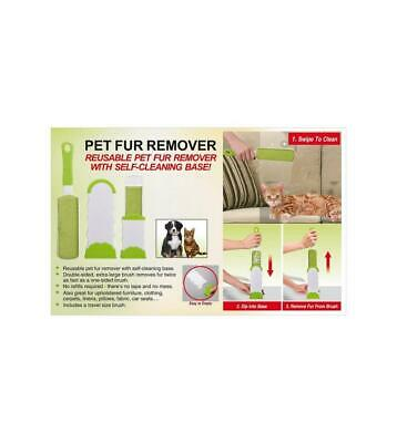 Pet Fur Remover Dog Grooming Roller Brush With Self Cleaning Base No Mess