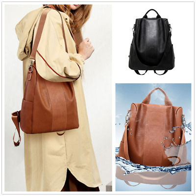 AU Women Waterproof PU Leather Cloth Travel Backpack Anti-theft Double Shoulder