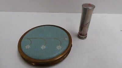 Vintage Compact Make Up Mirror And Lipstick Holder Case