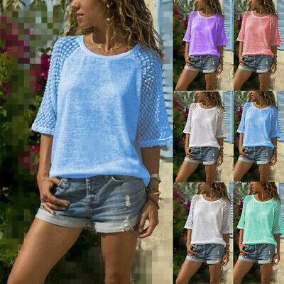 UK Womens Summer Plain Tops Blouse Ladies Casual Loose Tee T Shirts Plus Size