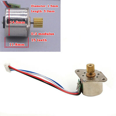 Micro Mini 15Mm Stepper Motor 2-Phase 4-Wire Stepping Motor Copper Metal Gear JJ