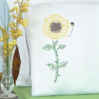 Jack Dempsey Stamped Pillowcases W/white Perle Edge 2/pkg-sunflower