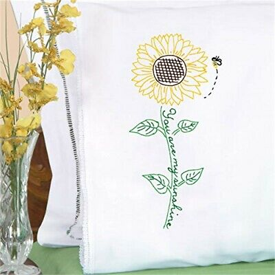 Jack Dempsey Stamped Pillowcases W/white Lace Edge 2/pkg-sunflower