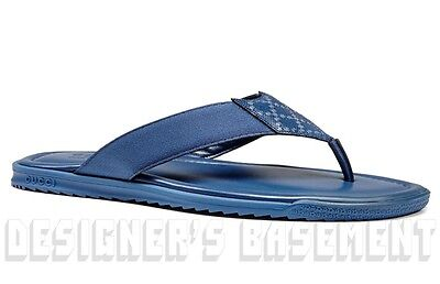 998828a9078f GUCCI mens 9.5G  blue DIAMANTE Leather FLIP-FLOPS Thong sandals shoes NIB  Authen