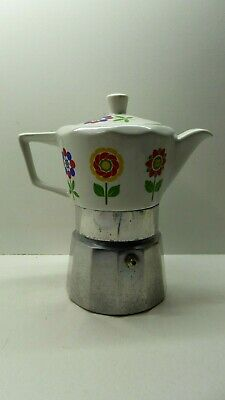Vintage Retro Italian Ceramic China / Metal Coffee Perculator Stove Top Maker