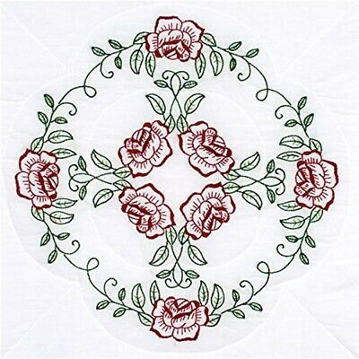 "Jack Dempsey Stamped White Quilt Blocks 18""x18"" 6/pkg-circle Of Roses"