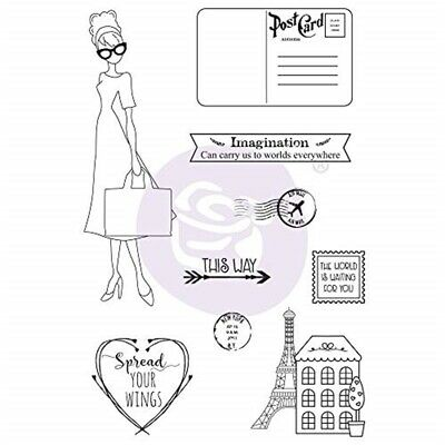 Julie Nutting Mixed Media Cling Rubber Stamps-travel Girl