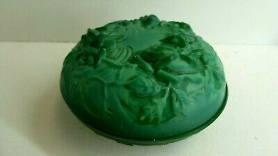 Vintage Art Deco Malachite Pressed Rose Flowers Glass Lidded Dish Pin