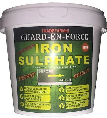 Iron Sulphate 1 KG TUB LAWN CONDITIONER and MOSS KILLER - 1KG PURE LAWN TONIC