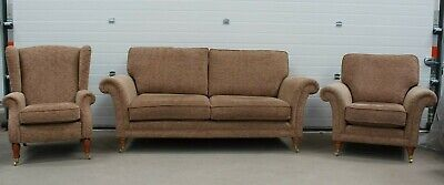 Parker Knoll, Burghley Large 2 Seater Sofa , Armchair & Wing Chair, Beige Fabric