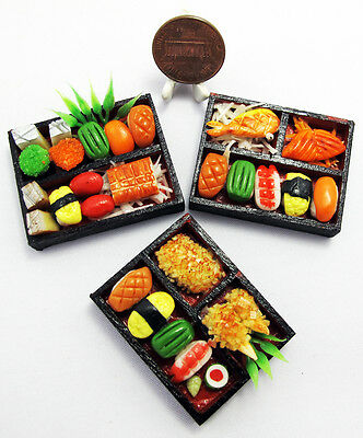 3 Mix Dollhouse miniature Sushi Bento ,Tiny Food,Japanese Food