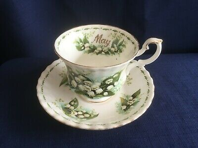 Royal Albert Flowers Of The Month May  tea cup & saucer (obvious gilt wear)