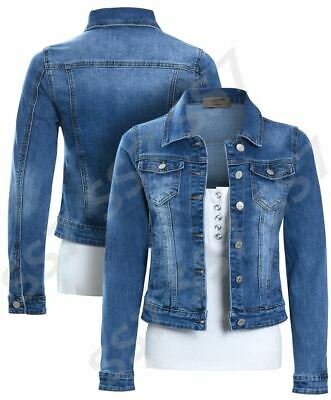 908d5dbbc50 Womens Size 16 12 10 8 14 Stretch Fitted Denim Jacket Ladies Jean Jackets  Blue
