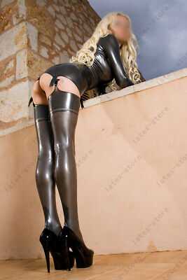 Latex Rubber Gummi One Piece Dress Stocking Suspender Fitted Customized Catsuits