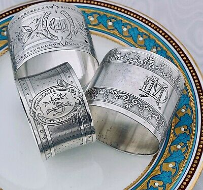 French Sterling Silver Antique 3 Napkin Ring Fabulous decor, Minerva 1