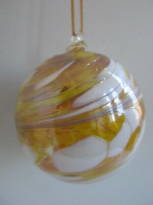 Glass Mouth Blown Spirit or Friendship Ball Lemon Swirls 8cm Boxed Ideal Gift