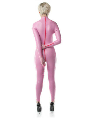 Latex Rubber Gummi Front Crotch Ankle Zipper Pink Wet Catsuit Customized 0.4mm