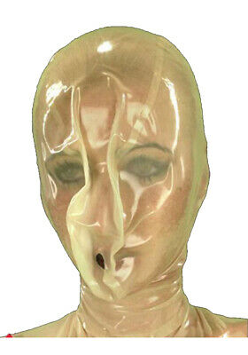 Latex Rubber Gummi Transparent White Breathing Hood Mask Catsuit Customized .4mm