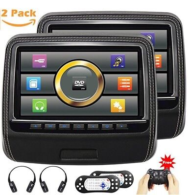 Autowongs Touchscreen Headrest Dvd Player For Car With Leather Cover