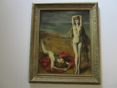 Vintage Masterful Modernist Painting 2 Nudes Female Women Surreal Beach 1950'S