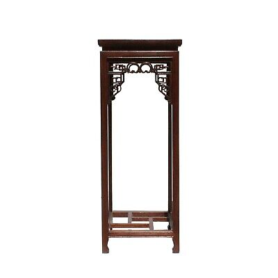 Chinese Oriental Square Brown Stain Plant Stand Pedestal Table cs5044