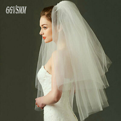 Fashion Wedding Veil Simple Tulle White Ivory Two Layers Bridal Veil Bride 75cm