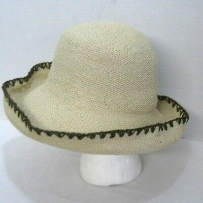 59768b56c677a Sewn Braid Straw Bucket Hat Sun Beach Hat Wide Brimmed With Brown Edge Trim  NEW