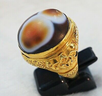 Ancient Agate with Multiple Eyes-Asia Banded Layer Genuine Solid 22K GOLD Ring