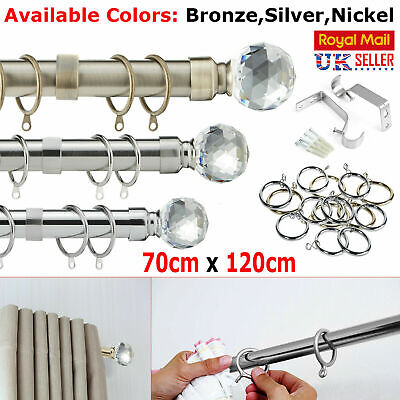 70-120cm Chrome Extendable Metal Curtain Pole Tracks Rail Finials Rings Fittings