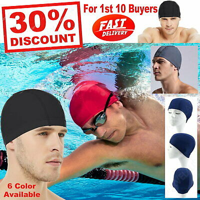 Professional Swimming Cap EASY FIT Adult Nylon Spandex Fabric Hat Women Men AU