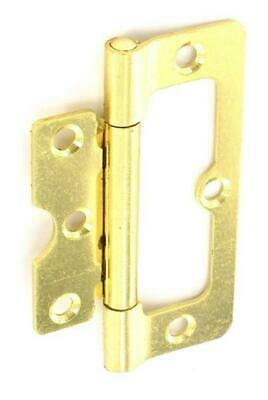 PAIR of 75mm FLUSH HINGES BRASS PLATED inc SCREWS