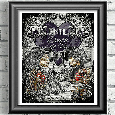 Lesbian Lovers Dictionary Art Print Wall Decor LGBT Gothic Wedding Gift