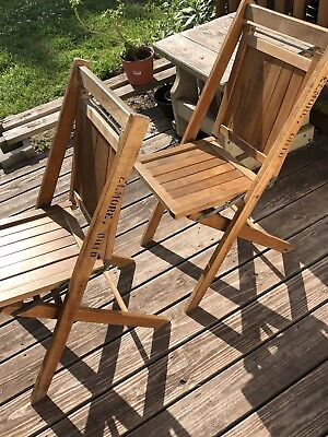 TWO Vintage WOODEN Folding Chairs Wood Slat Seat/Back-Tongue/Groove Sides