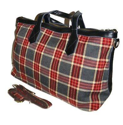 Scottish Red Tartan Sheep Small Book Lunch Canvas Cotton Tote Bag